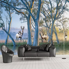 Custom 3d mural forest tree elk oil painting background wall decorative wallpaper photo