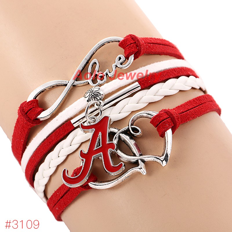 Infinity Love Alabama Crimson Tide College Football Bracelet New Leather Fans Jewelry Free Shipping