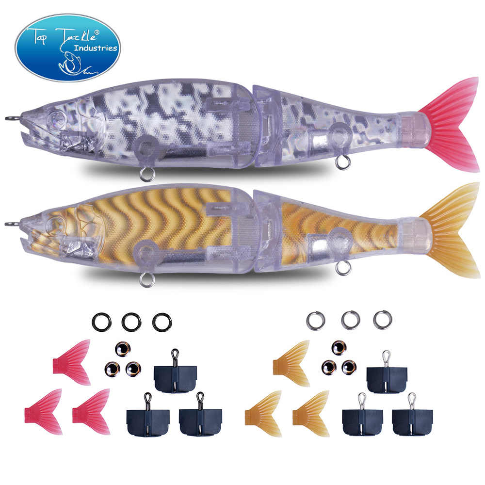 "220mm 9"" DIY Unpainted Hologram Slow Sinking Saltwater Floating Freshwater Big Bass Fishing Jointed Baits Swimbait Fishing Lure"