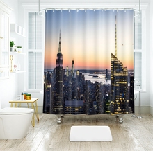 Bright Night Scene of City 3d Shower Curtains Landscape Bathroom Curtain Thicken Waterproof Thickened Bath