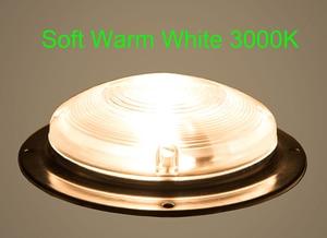 Image 3 - 3 W Car Interior LED Soffitto A Cupola di Luce Bianca della Lampada In Acciaio Inox per 12 V Marine Barca Roulotte Camper accessori