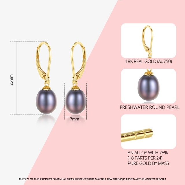 18K Gold Drop Earrings with Freshwater Pearls 1