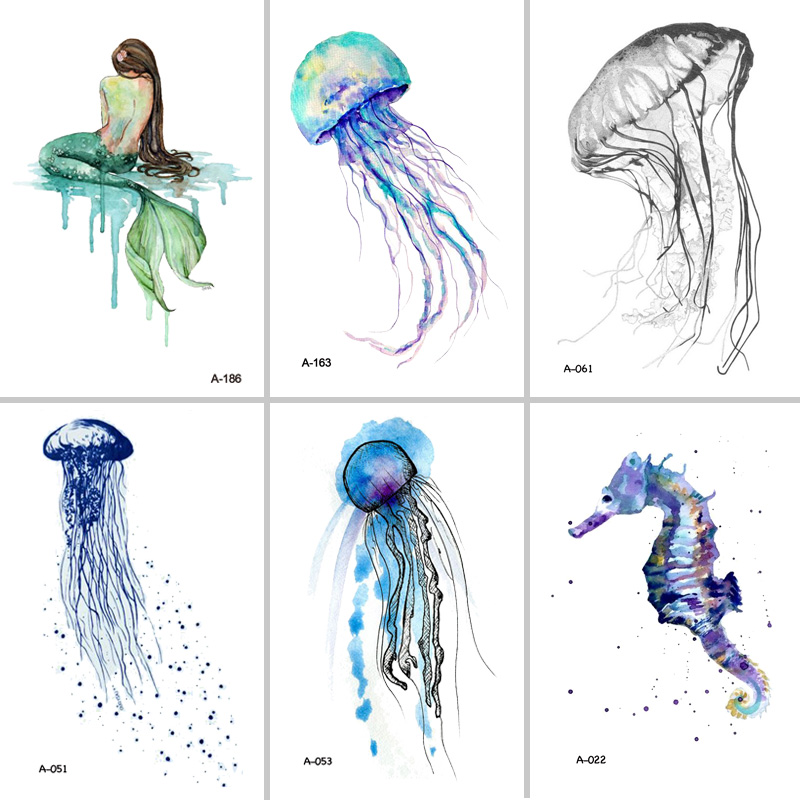 Wyuen Hot Design Jellyfish Temporary Tattoo for Adults Waterproof Tatoo Sticker Ocean Animal Women Body Art Fake Tattoo A-051
