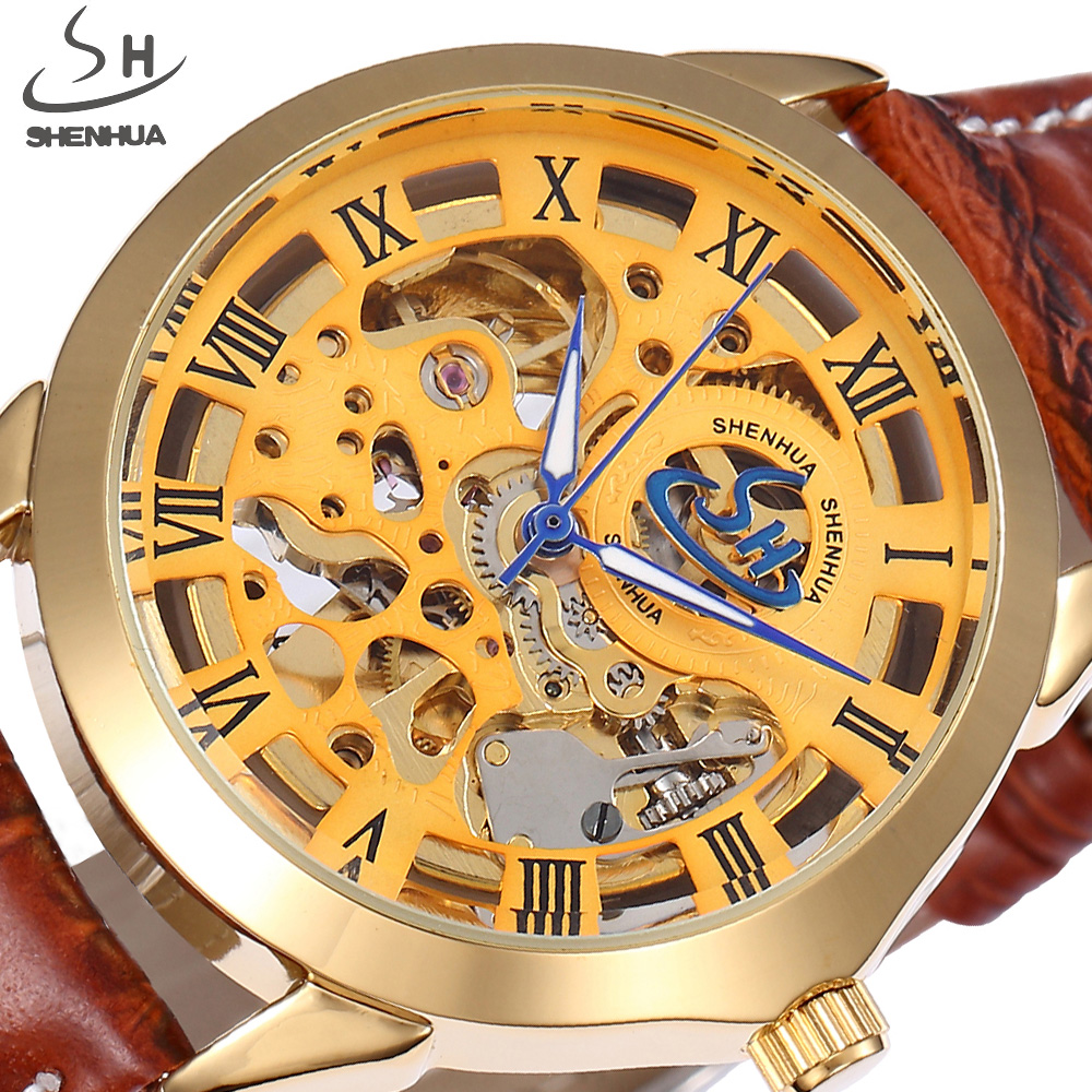 Luxury Brand SHENHUA Gold Skeleton Mechanical Watch Men Transparent Leather Mens Watches Clock Relogio Masculino Automatic Watch shenhua automatic mechanical tourbillon watches men top brand luxury leather band transparent skeleton watch relogio masculino