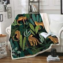 Sofa cushion Yoga mat Blanket Air Conditioner Thick Double-layer Plush 3D Digital Printed Leaves Series