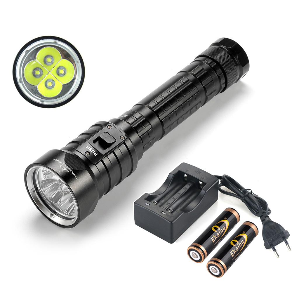 hot DX4S Upgraded from DX4 XM L U2 LED Diving Flashlight Torch Brightness Waterproof 100m White