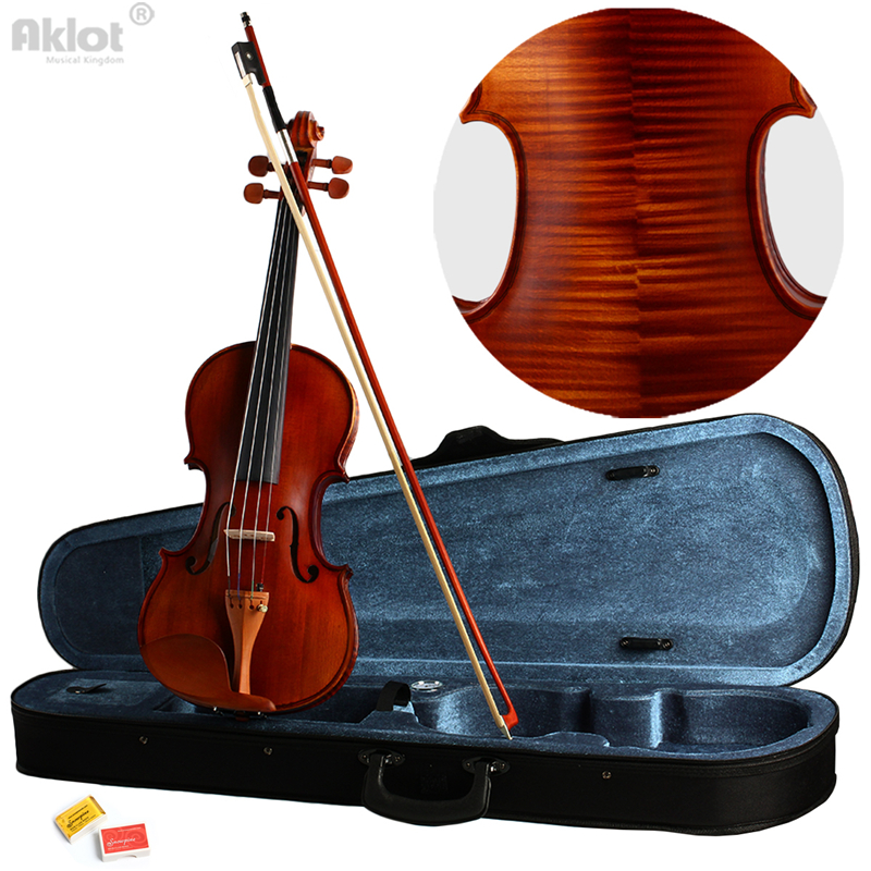 Violin 4/4 Full Size Fiddle Antique Natural Acoustic Solid Wood With Case Bow Rosin New violin bow 4 4 high grade brazil wood ebony frog colored shell snake skin violino bow fiddle violin parts accessories bow