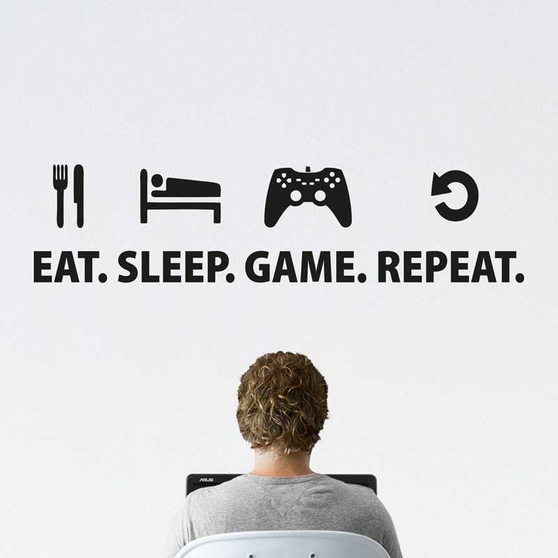 Eat Sleep Game Sticker Repeat Play Game Room Decal Gaming Posters Gamer Vinyl Wall Decals Parede Decor Mural Video Game Sticker