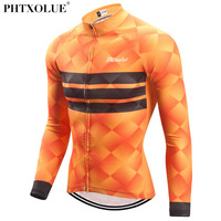 Phtxolue Autumn Winter Thermal Long Sleeve Cycling Jersey Men Blue Orange Mtb Bike Bicycle Wear Cycling Clothing