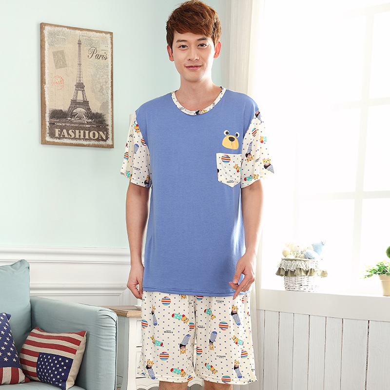 Men summer new modal pajamas thin section XL men's casual home service 2019 short sleeve shorts suit pajama sets men pajamas(China)
