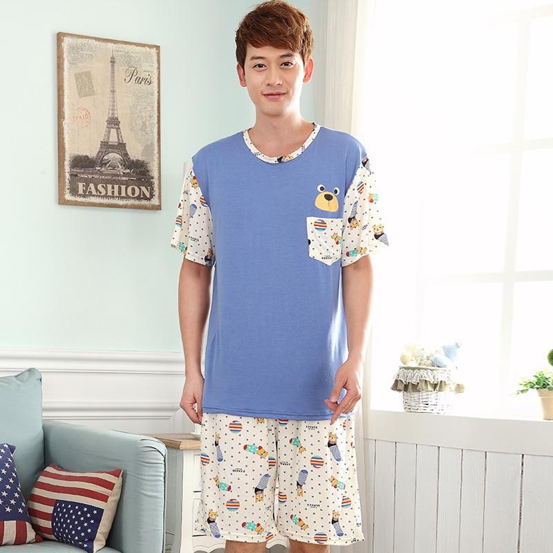 Men Summer New Modal Pajamas Thin Section XL Men's Casual Home Service 2019 Short Sleeve Shorts Suit Pajama Sets Men Pajamas