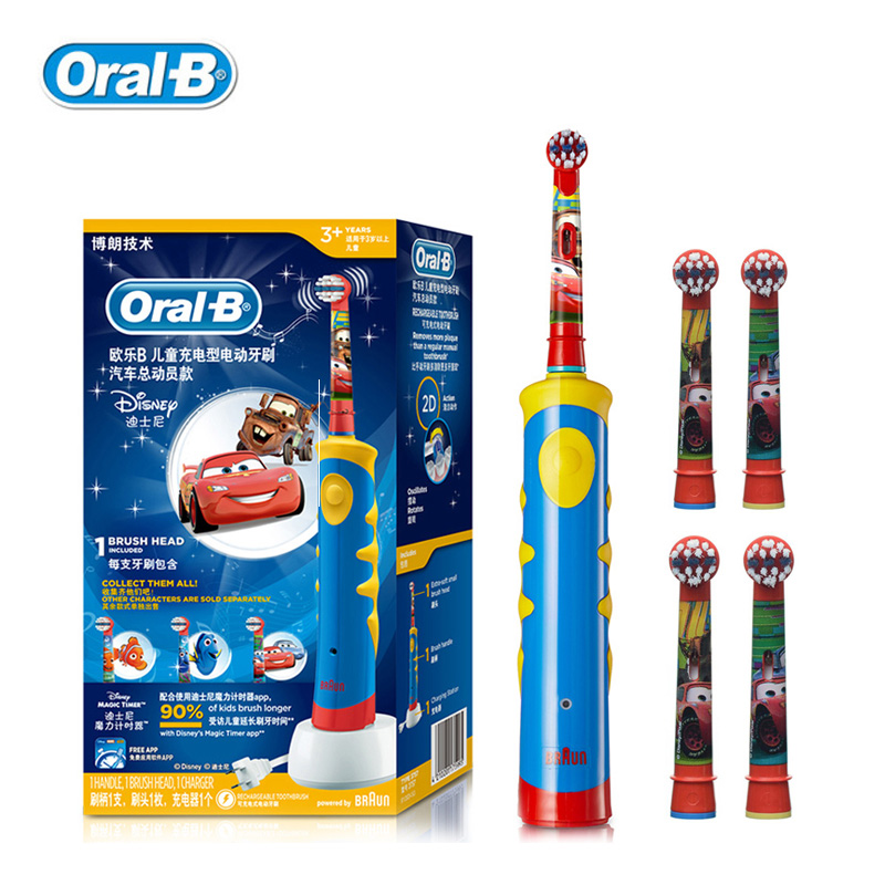 Children Electric Toothbrush Oral B Cars Tooth Brush D10 Replaceable Brush Heads EB10 Music Timer for Children Ages 3+ ckeyin cartoon dolphin children music electric toothbrush led tooth brush 22000 min kids sonic toothbrush electric 3 brush heads