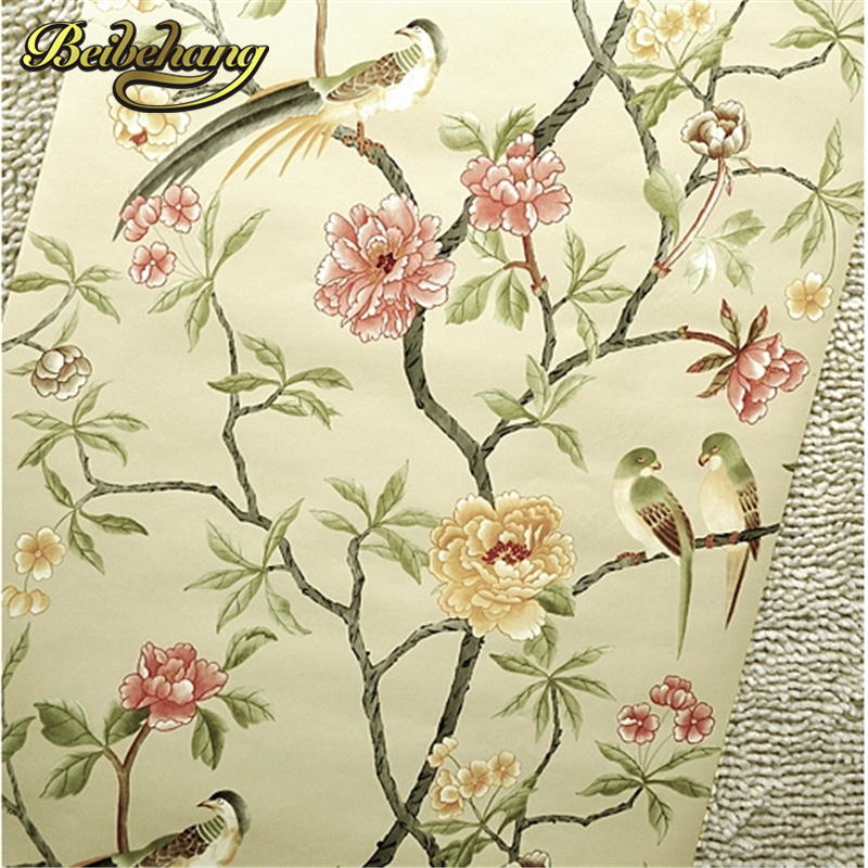 beibehang  6 Color Birds-Trees-Flowers-Chinoiserie-Wallpaper Birds Tree Blossom Statement 3D Wall Paper Roll For Background Wall flame trees of thika