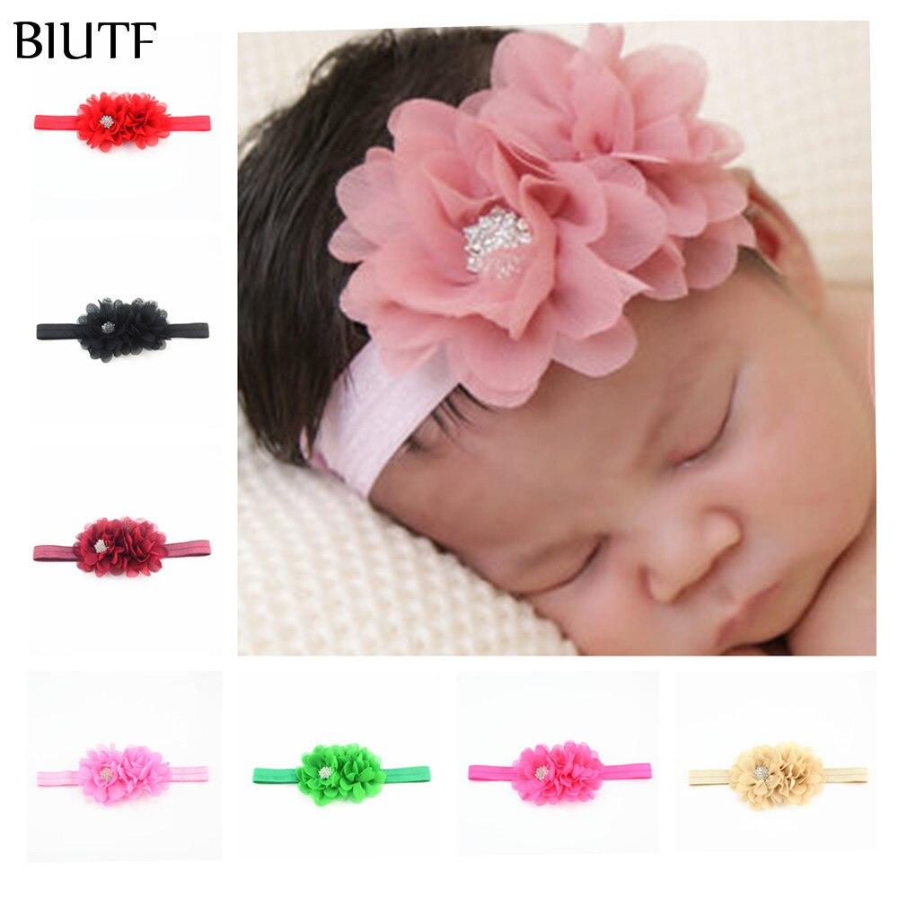 20pcs/lot DIY Boutique Elastic Headband With Two Fabric Chiffon Flowers One Shiny Rhinestone Button Photography Props FDA232