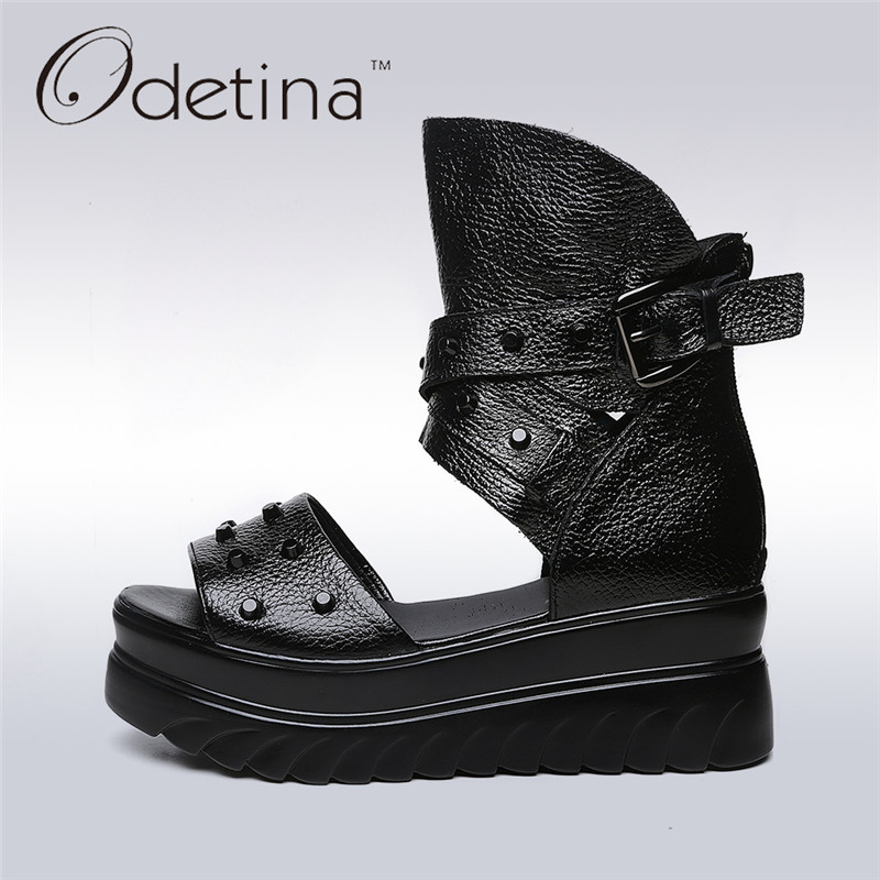 Odetina 2017 New Brand Women Summer Thick Sole Sandal Shoes Flat Platform Gladiator Sandals Buckle Strap Cross Ankle Wrap Punk 2015 summer new fashion and leisure solid cool women sandls flat buckle knot women sandal breathable comfort women sandals e309