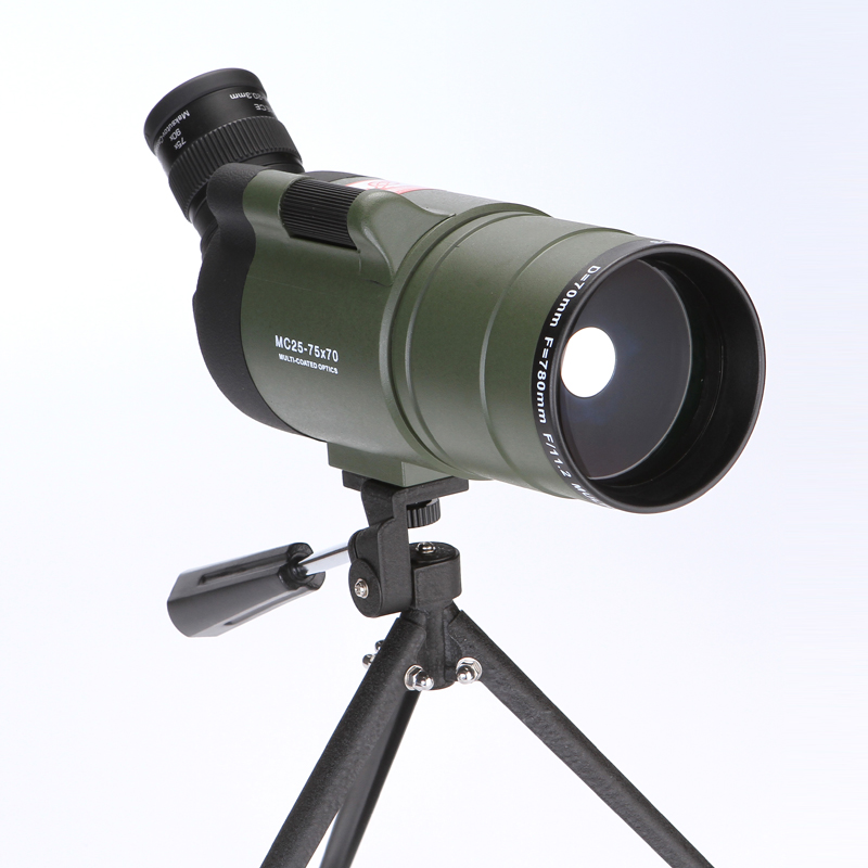 HUANDEE 25-75X70 MAK Zoom Spotting Scope with Tripod for Birdwatching Waterproof Long Range Target Shooting Monocular Telescope 25 75x70 zoom spotting scope with tripod