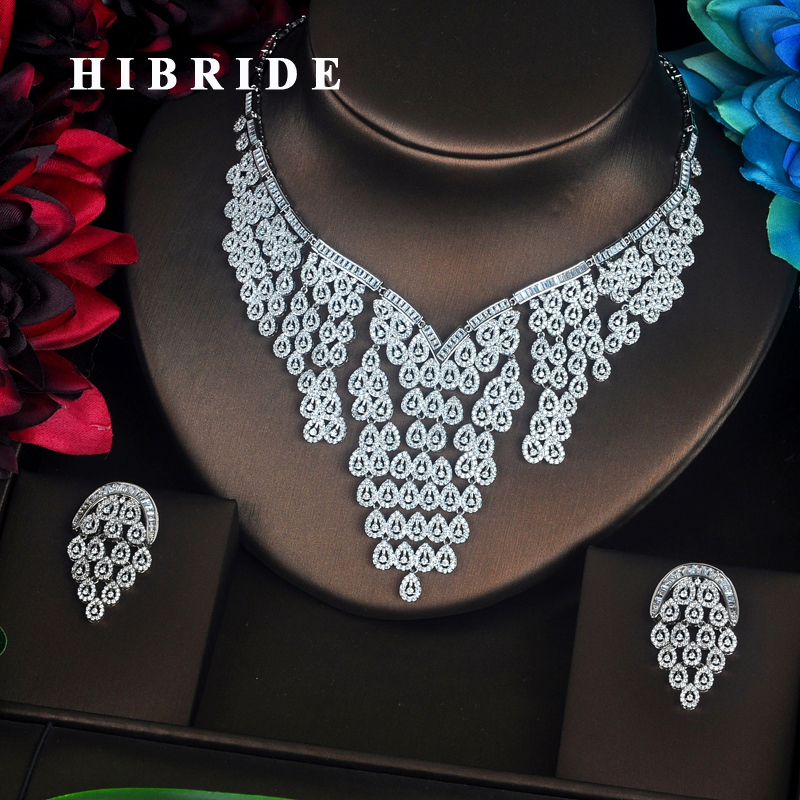 HIBRIDE Sparkling Bijoux Dubai Jewelry Sets Full Cubic Zirconia Necklace Set Women Wedding Bride Party Show Sets Wholesale N-344HIBRIDE Sparkling Bijoux Dubai Jewelry Sets Full Cubic Zirconia Necklace Set Women Wedding Bride Party Show Sets Wholesale N-344