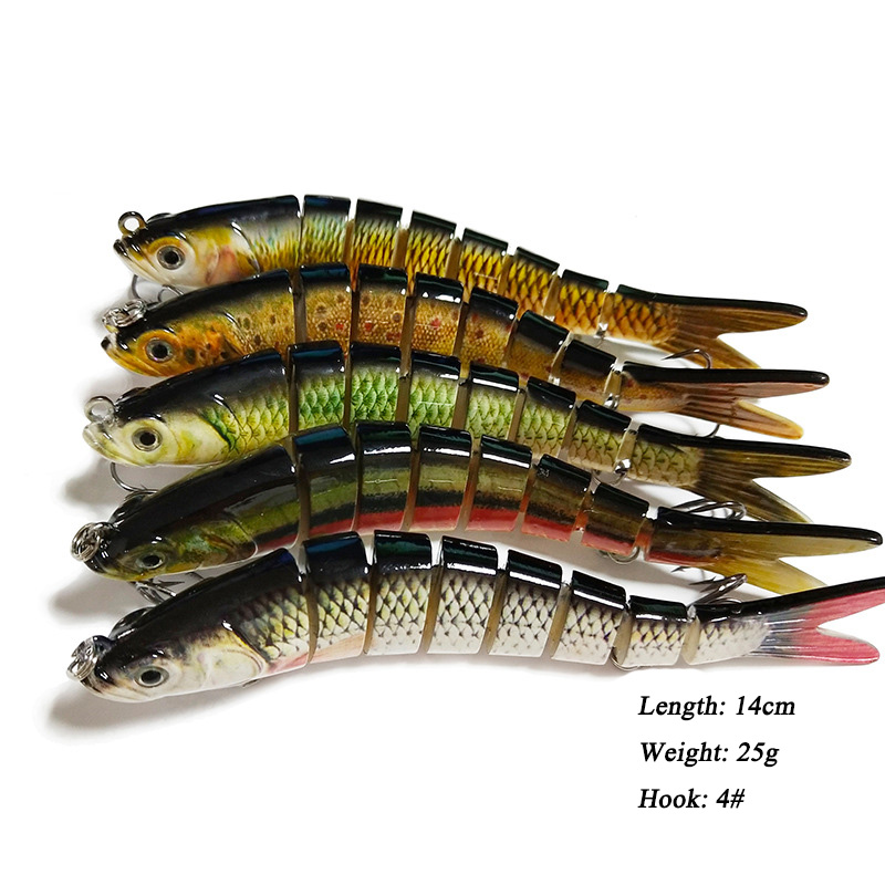 8 Section Fishing Lure 14cm 25g Multi Jointed Lures Bait Pike Sinking Wobblers Swimbait Fishing Tackle For Bass Isca Crankbait