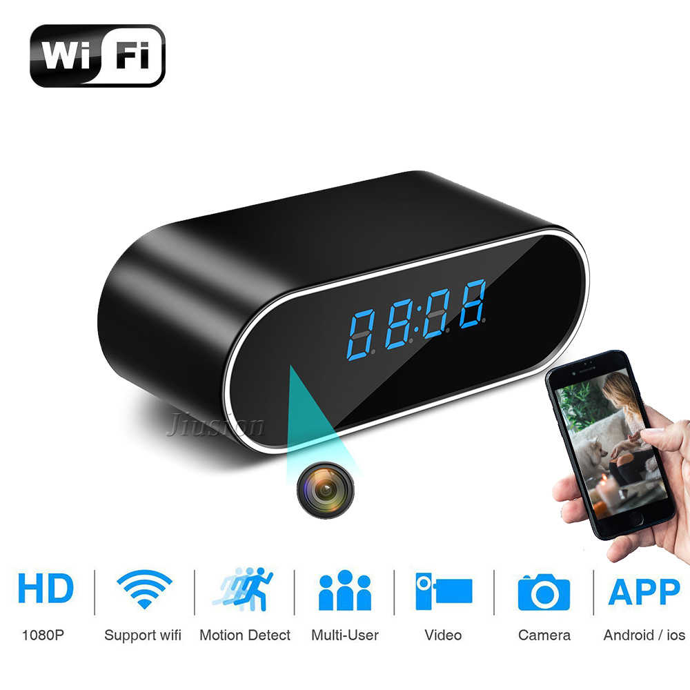H.264 WiFi Table Clock Mini Camera 1080P HD IP P2P DVR Camcorder Alarm Set Night Vision Motion Sensor Remote Monitor Micro Cam