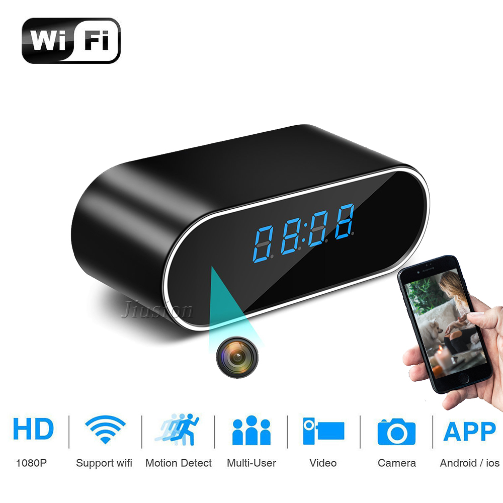 H.264 WiFi Table Clock Mini Camera 1080P HD IP P2P DVR Camcorder Alarm Set Night Vision Motion Sensor Remote Monitor Micro Cam 1080p mini camera hd wifi clock camera time alarm p2p nanny motion detection night vision remote monitor wireless ip micro cam