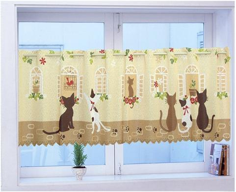 Nice Curtains Cute Cats Print Coffee Curtain Kitchen For Door Semi Shade Brief