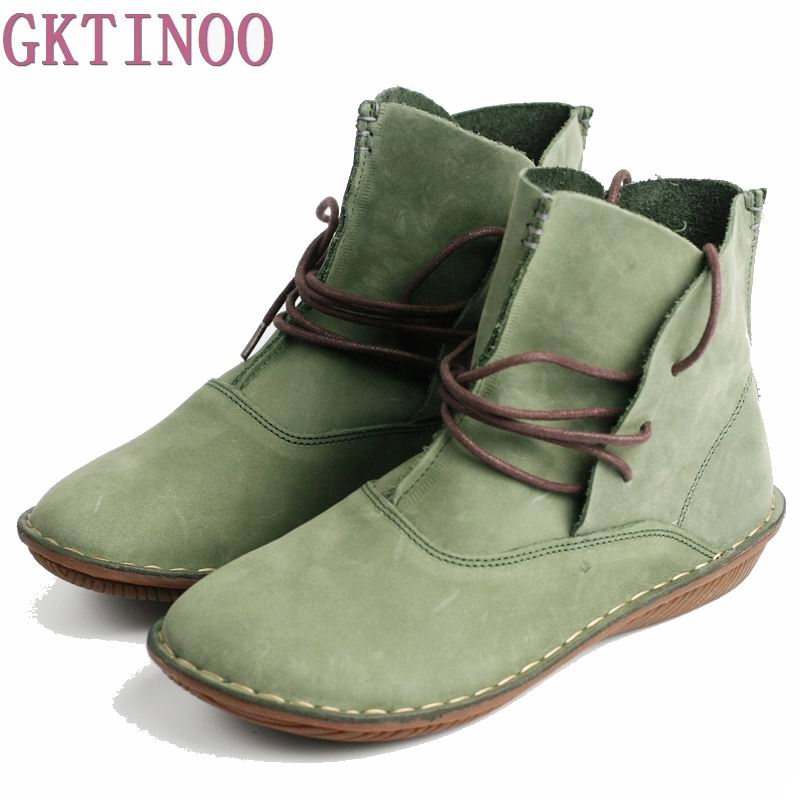 2018 New Fashion 100% Genuine Leather Women Shoes Handmade Vintage Women Leather Boots female work shoes plus size 35-40