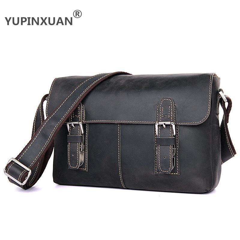 Yupinxuan 4 цвета Варианты Винтаж из коровьей кожи Сумки на плечо для Для мужчин Crazy Horse кожа сумка небольшая дорожная сумка