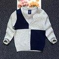 Golpe color suéter Con Cuello En V chaqueta de punto de corea 2016 nuevo otoño boys and girls ropa cozy envío gratis