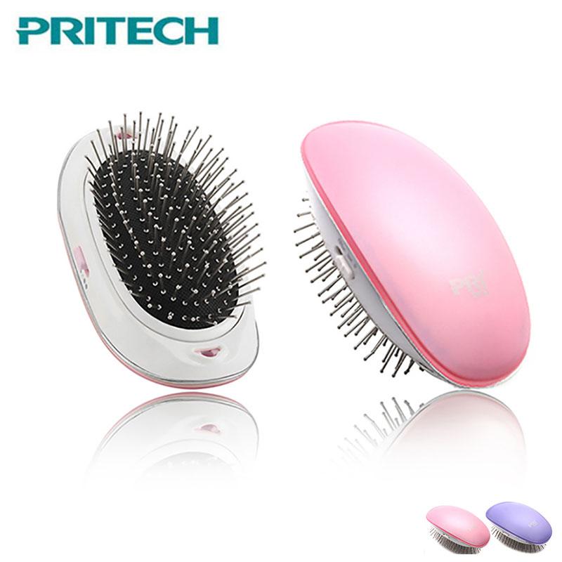 Pritech Elektrische Mini Haar Pinsel Negative Ionic Haarglätter Kamm Vibration Massage Anti-Statische Haar Pinsel Dropshipping
