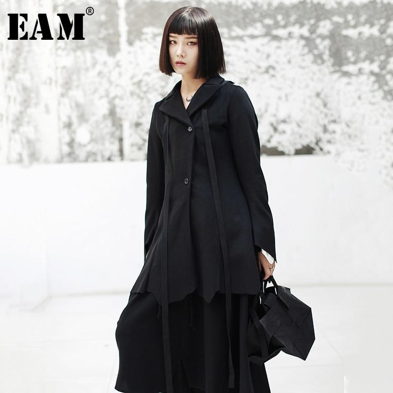 [EAM 2019 nueva primavera solapa manga larga negro cinta de corte dobladillo Irregular abrigo de lana chaqueta de las mujeres de moda de JK104