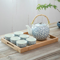 TANGPIN big capacity japanese ceramic tea sets ceramic teapot teacup chinese kung fu tea set with tray