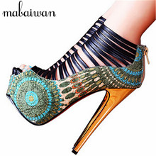 2017 New Sexy Ladies Shoes Summer Boots Straps High Heels Shoes Woman Back Zip Women Platform Pumps Wedding Dress Shoe Stiletto