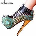 2017 Nueva Sexy Ladies Botas de Verano Correas Tacones Altos zapatos de Mujer de Vuelta Zip Plataforma Mujeres Bombas de Boda Zapatos de Vestir zapatos de tacón de aguja