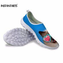 INSTANTARTS/модная мужская повседневная обувь из сетчатого материала; милые повседневные кроссовки с принтом кота для мужчин; легкая обувь для о...