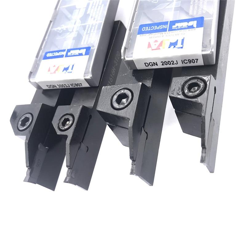 10PCS DGN 3003J / DGN 2002J 2mm 3mm Grooving Carbide Insert + 1PC DCTR2020-2T18 DCTR1616-2T18 Turning Holder