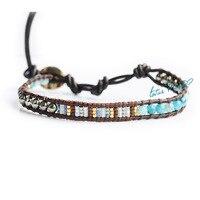Galmei Blue Pyrite Color Block Decoration Beads Single Circle Leather Cord Bracelet