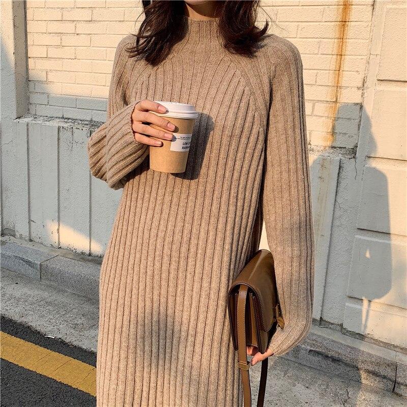 Frauen Winter Lange Pullover Kleid Rollkragen Volle Hülsen Gerade Elegante Gestrickte Vestidos Streetwear Bodycon Robe Pull Femme