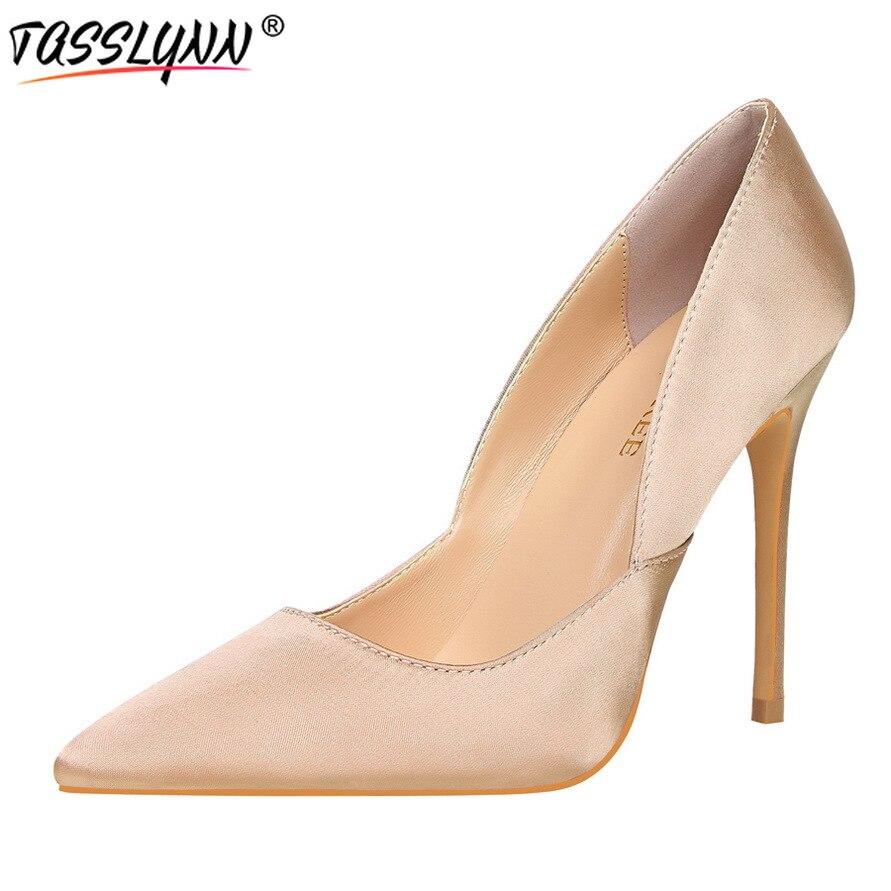 TASSLYNN 2019 Wedding/party Women Pumps Spring Women Shoes High Heels Lady Silk Pointed Toe Thin Heels Western Pumps Size 34-39 basic pump