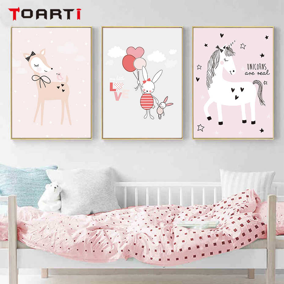 Pink Unicorn Posters Prints Cartoon Animals Canvas Painting Rainbow Modern Wall Art Pictures For Nursery Kids Bedroom Home Decor