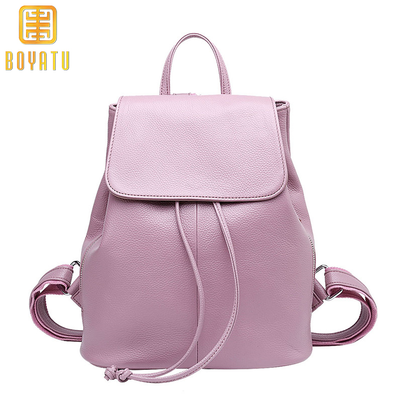 все цены на Genuine Leather Backpack Women Fashion School Backpack for Girls Travel Shoulder Bag Purse Rucksack Sac a dos mochilas 2018