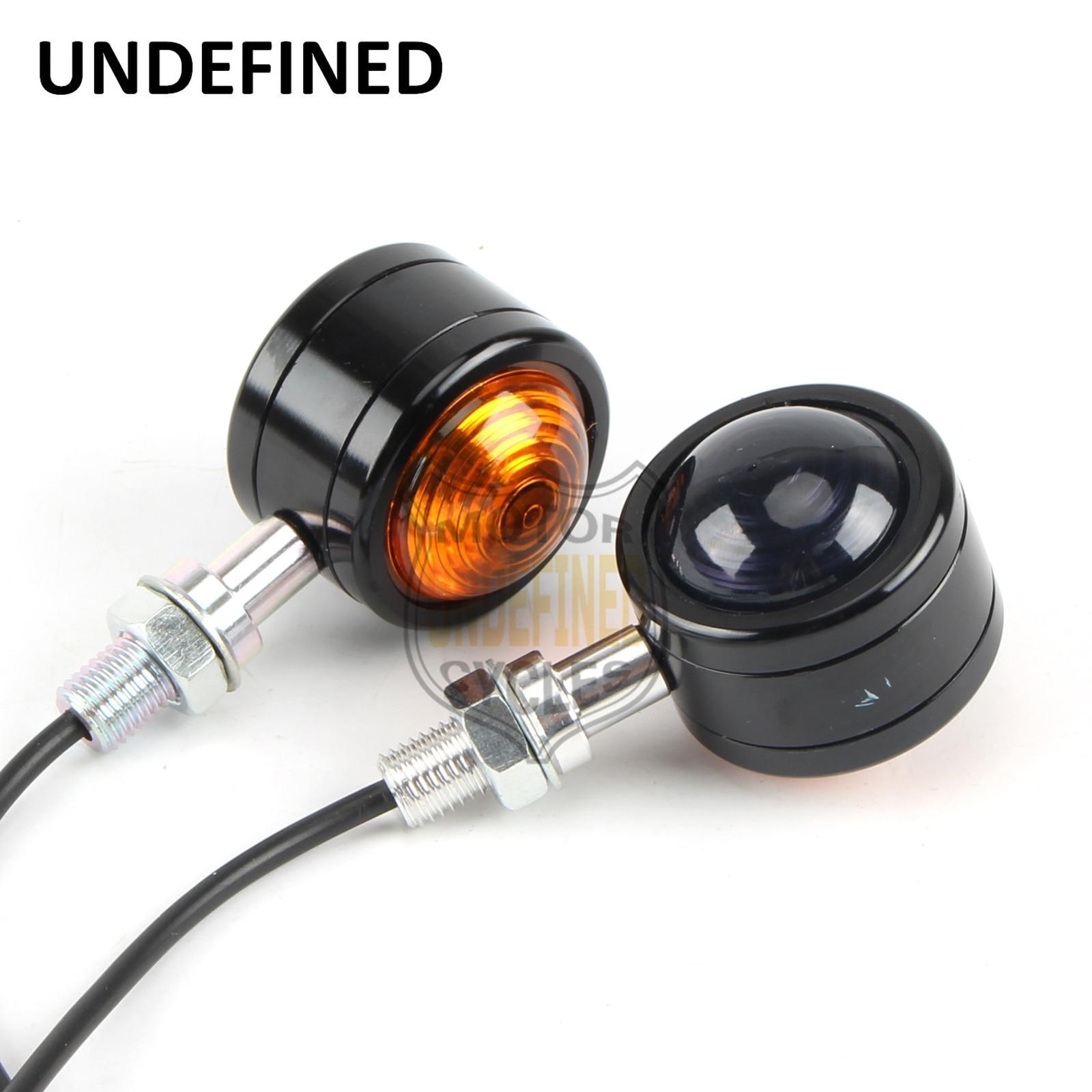 Motorbike Motorcycle Parts Black Aluminum Small Round Double Lens LED Turn Signal Blinker Amber Indicato Light UNDEFINED