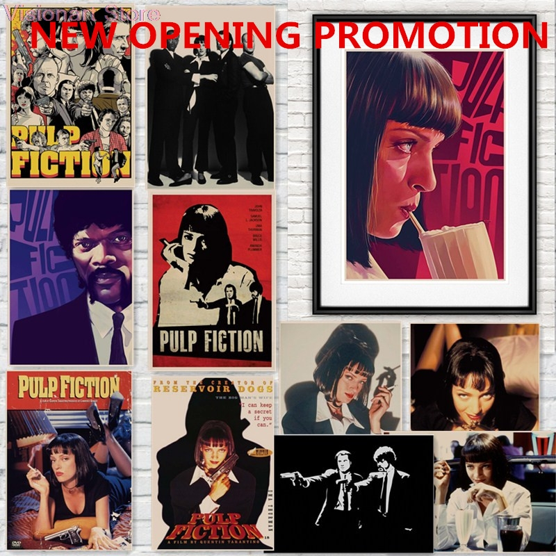 Pulp Fiction Posters Movie Posters Poster Vintage Retro Wall Sticker Home Decor Quentin Tarantino Posters mo86 image