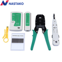 NASTAKO Network Ethernet Cable Tester RJ45 Kit RJ45 Crimper Crimping Tool Punch Down RJ11 Cat5 Cat6