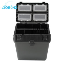 Bobing 380x230x390mm Fishing Tackle Box With Strap 4 Compartments Fishing Lures Takcle Tool Accessories Storage Case Seat Box