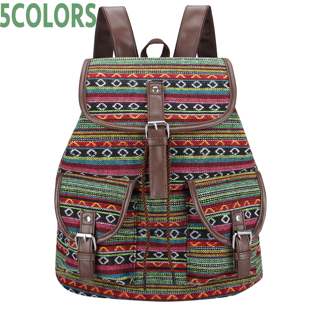 Sansarya New Woven Fabric Female Bagpack Aztec Women Backpack Bohemia Boho Laides Drawstring Rucksack Girls School Bags