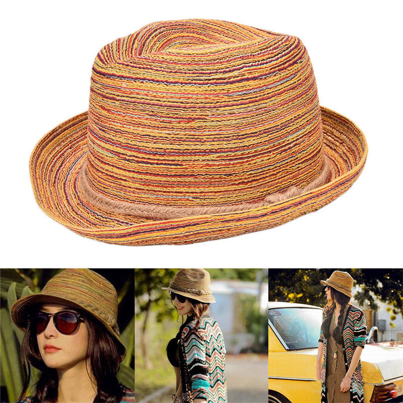 1 Stück Frauen Bunte Sombreros Jazzhut Mode Stroh Sonnenhut Sommer Strand Hut Geschenke Für Frauen Größe: Hut Um 52-58 Cm