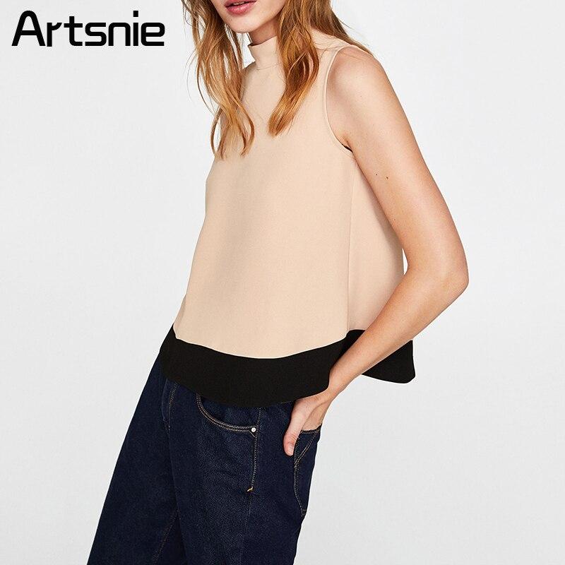 Artsnie Beige Patchwork Casual Chiffon Tank Tops Women Summer Elegant O Neck T Shirts Bow Ladies OL Streetwear Tops Feminino