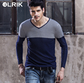 OLRIK 2016 New Spring Autumn Men Sweater Casual Slim Pullovers Knitwear V-Neck Sweaters Brand-clothing Mens pull homme Fashion
