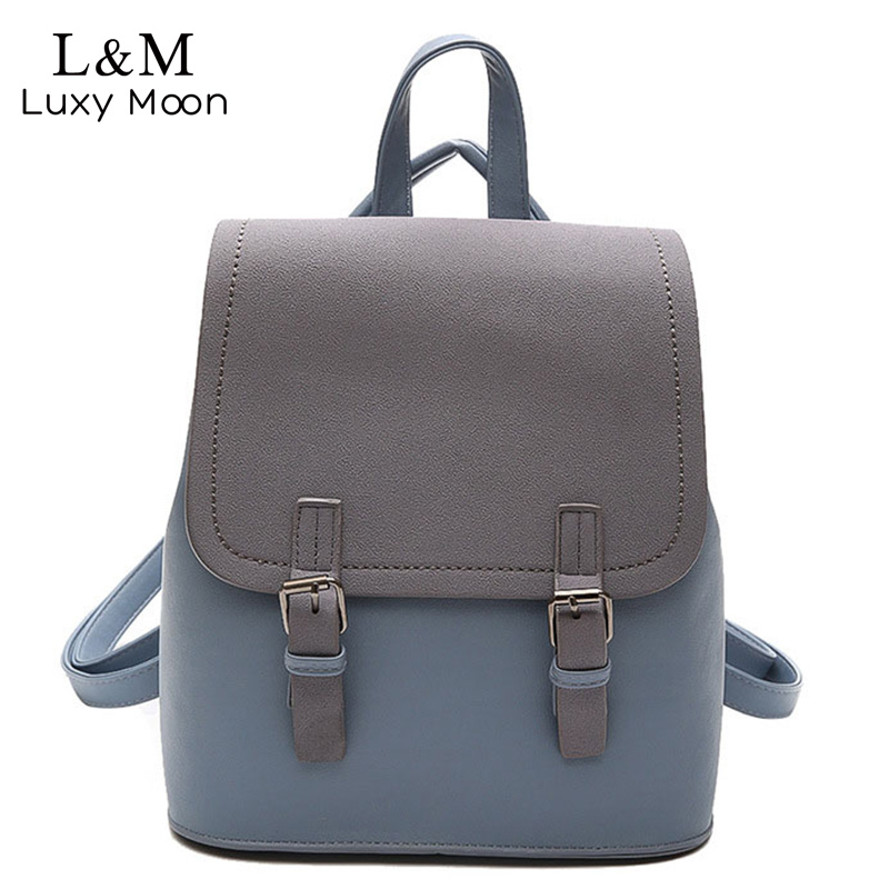 Luxy moon Women Zipper Backpack Preppy Style Blue Patchwork Backpacks PU Leather Bag For Teenage Girls School Bags Black XA1139H moon flac style