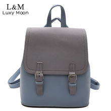Luxy mond Frauen Reißverschluss Rucksack Adrette Blau Patchwork Rucksäcke Pu-leder Tasche Für Teenager Schultaschen Schwarz XA1139H